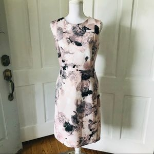 Calvin Klein Floral Pink and Black Sheath Dress